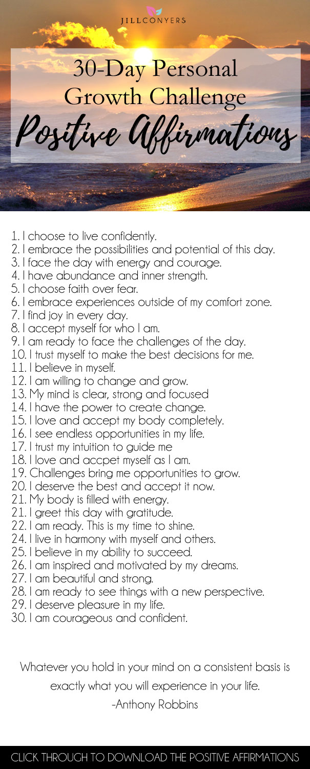 30-Day Personal Growth Challenge: How To Use Daily Affirmations - Jill Conyers