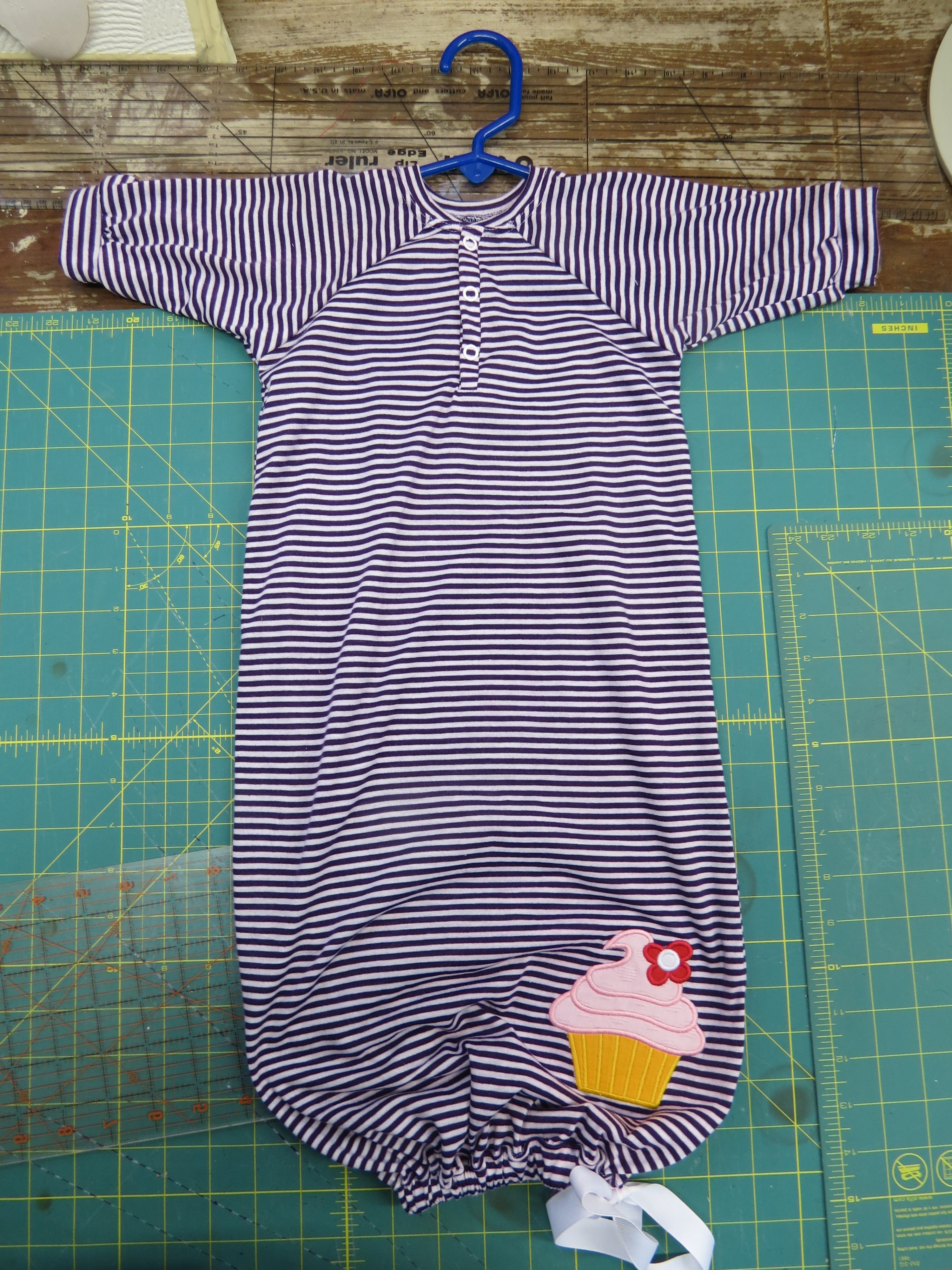 my own pattern. Cupcake nightgown. Purple and white stripe with cupcake applique.