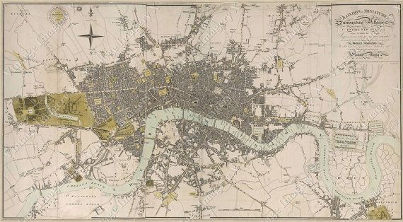 large vintage historic london england map 1807 old antique restoration hardware style wall map of london fine art print old london map