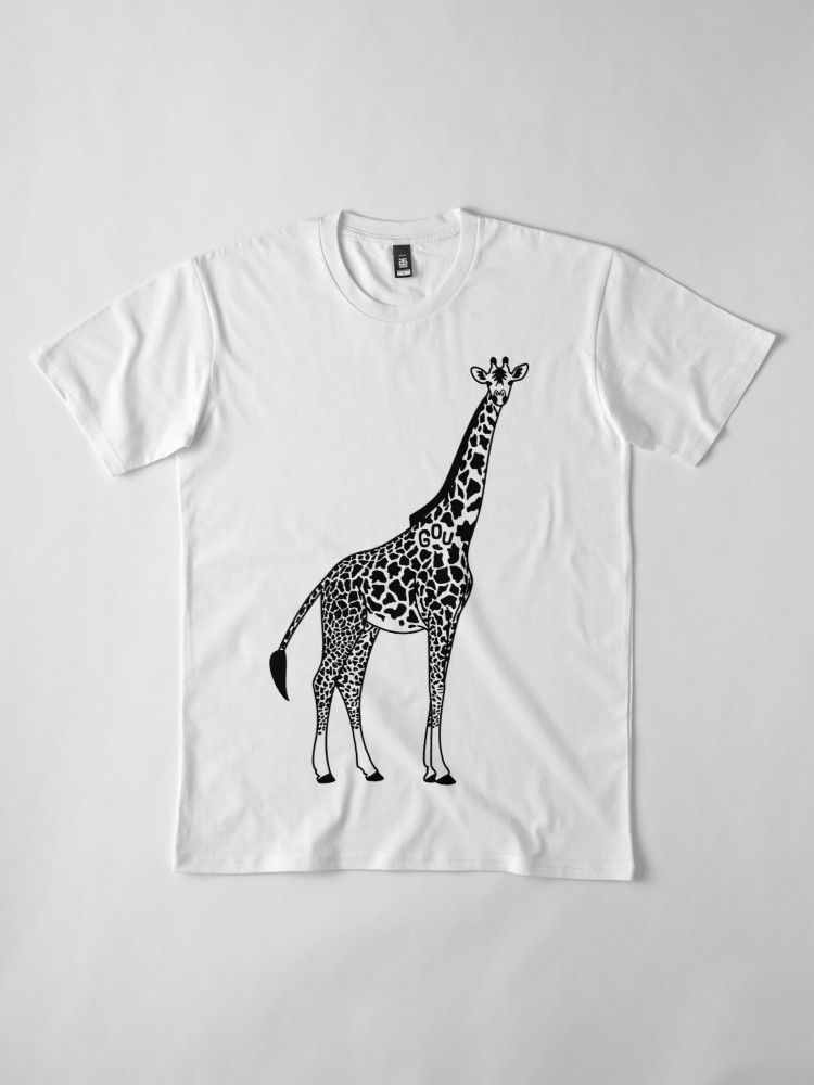 Giraffes Digitally Printed White Ladies Fitted T-Shirt