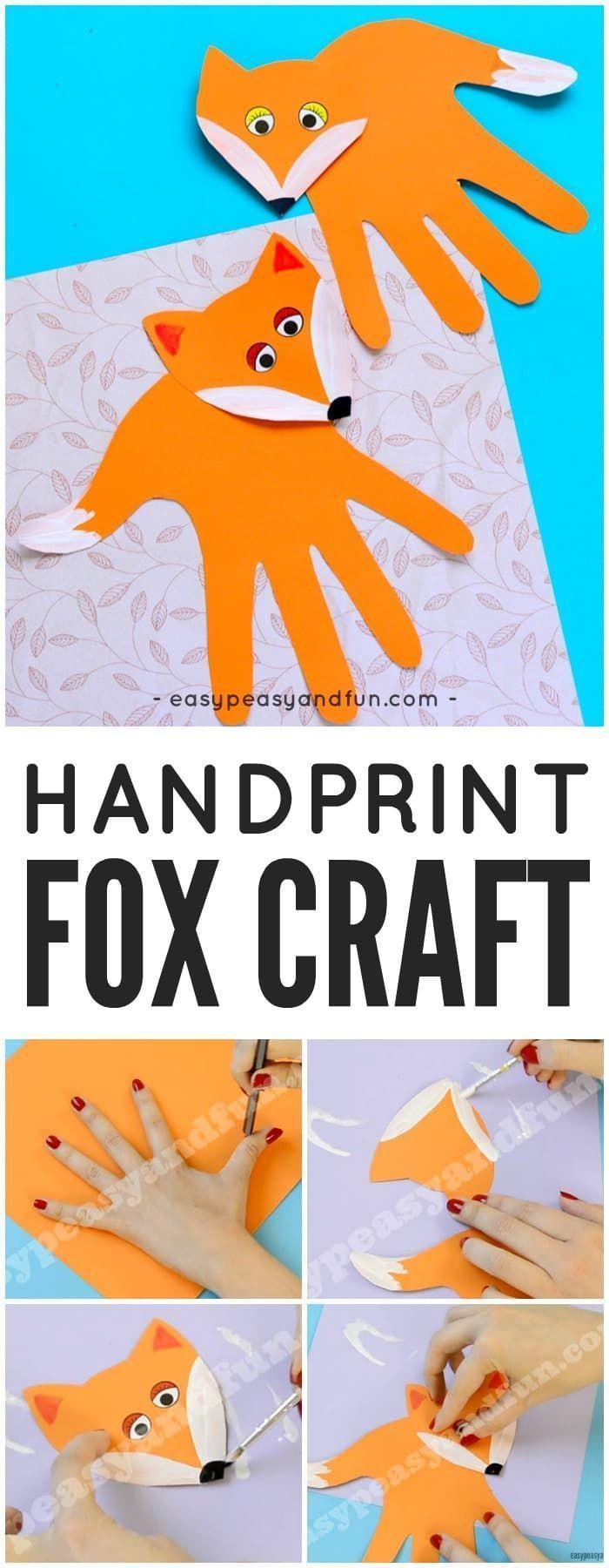 Handprint Fox Craft #fallcraftsforkidspreschool