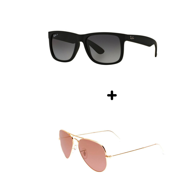 594ee5964 Óculos De Sol Justin/aviador Kit 2 Produtos A Pronta Entrega ...