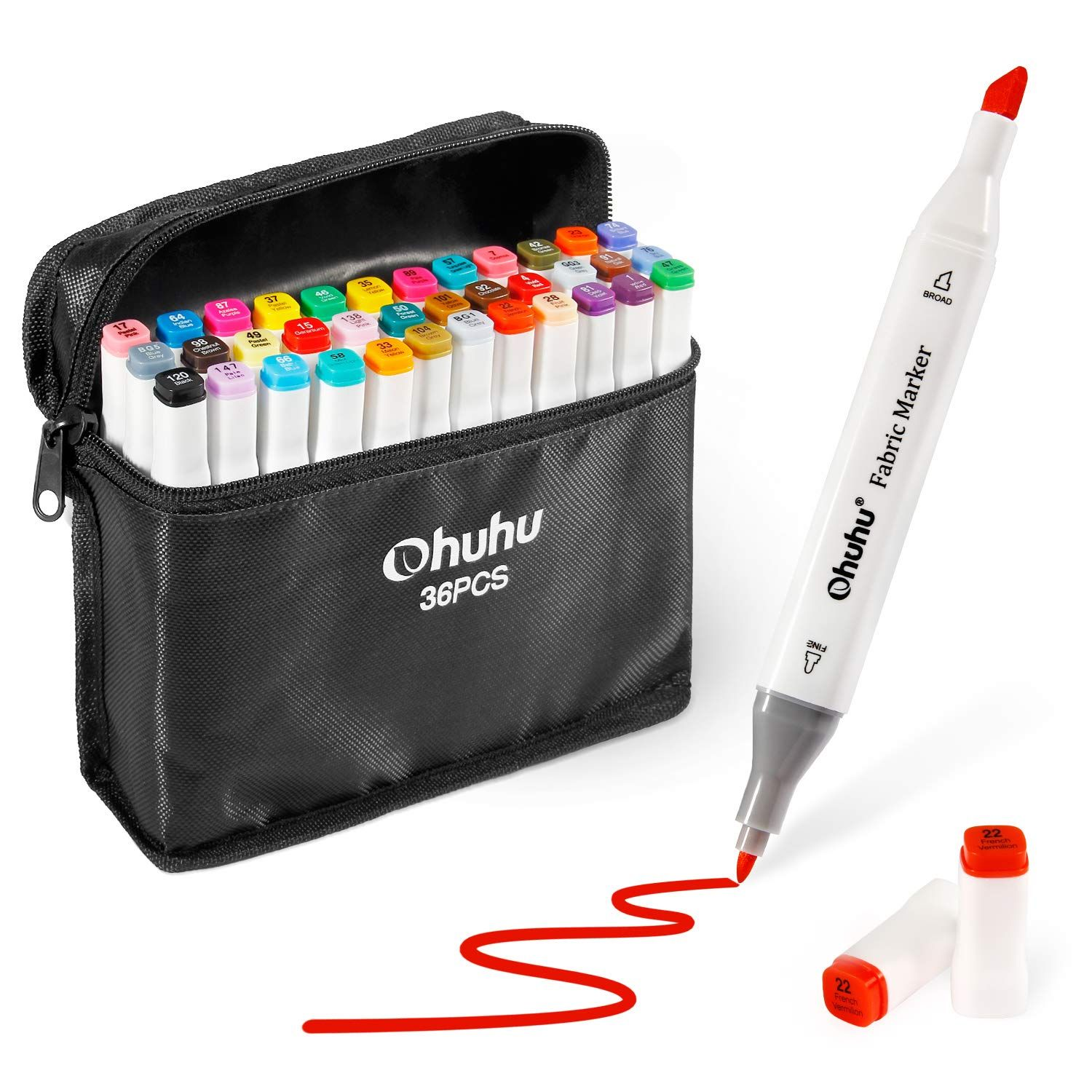 Fabric Markers Permanent 36 Colors Of Ohuhu Dual Tip Fabric Paint