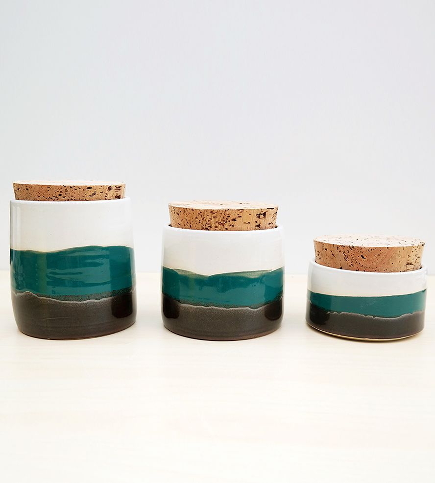 Ceramic Kitchen Canister Trio | Kitchen canisters, Pottery and Kitchens