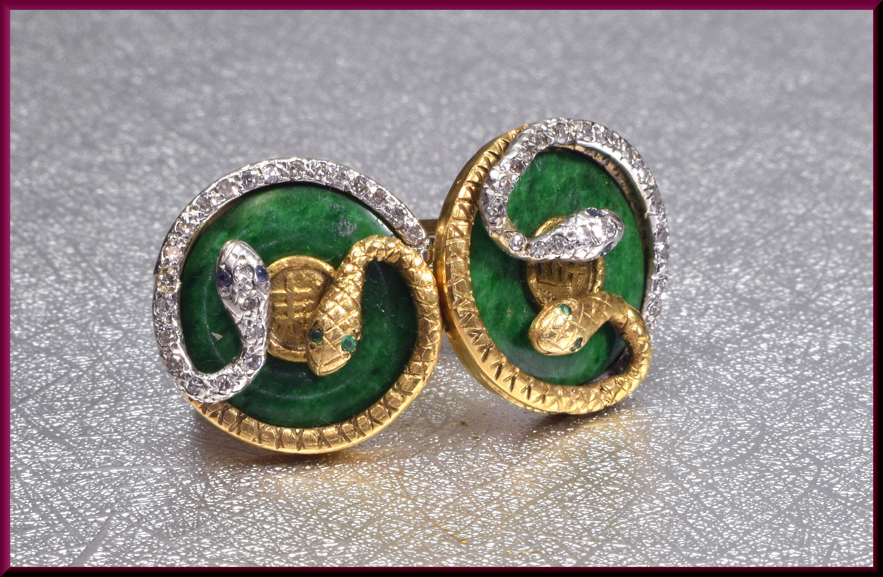 Snake Cufflinks Gold Cufflinks Jade Cufflinks Wedding Cufflinks