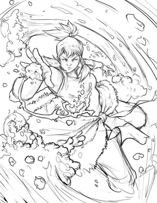Korra Become Fought in Avatar Form Coloring Page | Color Luna ...