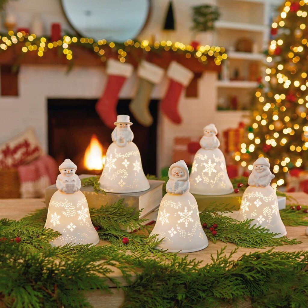 Snowmen Bell Choir Musical Decorations With Light, Set of ...