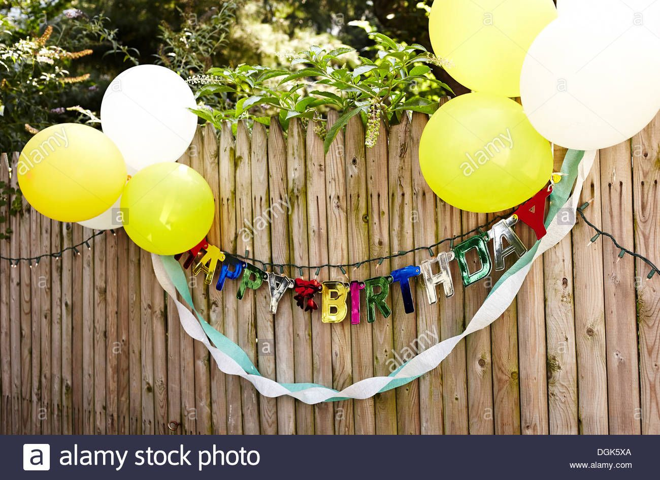 Birthday banner and balloons