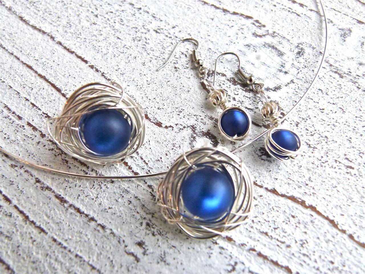 Set jewelry #101,ring nest,pendant nest,earrings nest,silver wire ...