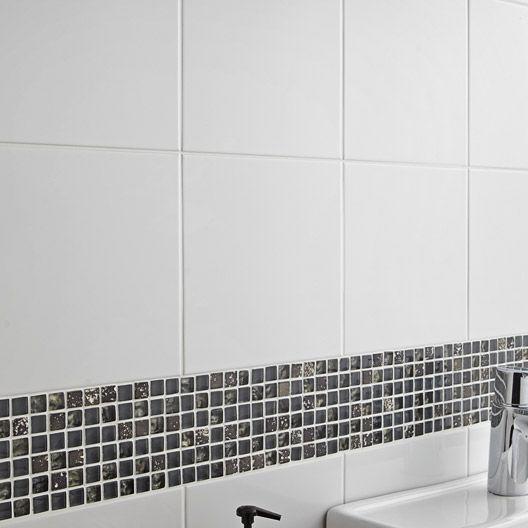 Carrelage mural Basic AERO en faïence, blanc brillant, 20 x 20 cm