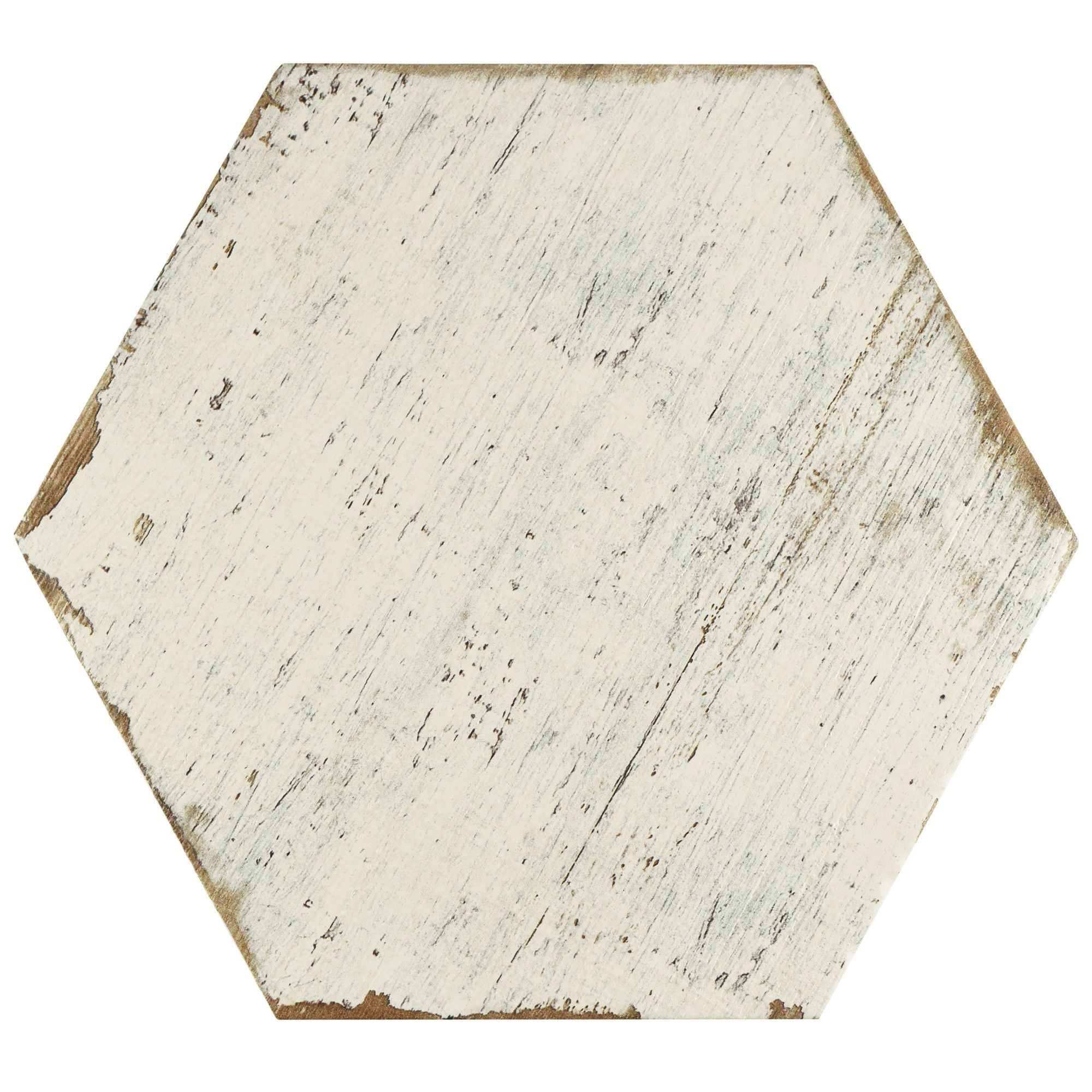 """Rama 14.13"""" x 16.25"""" Hex Porcelain Floor and Wall Tile in White"""