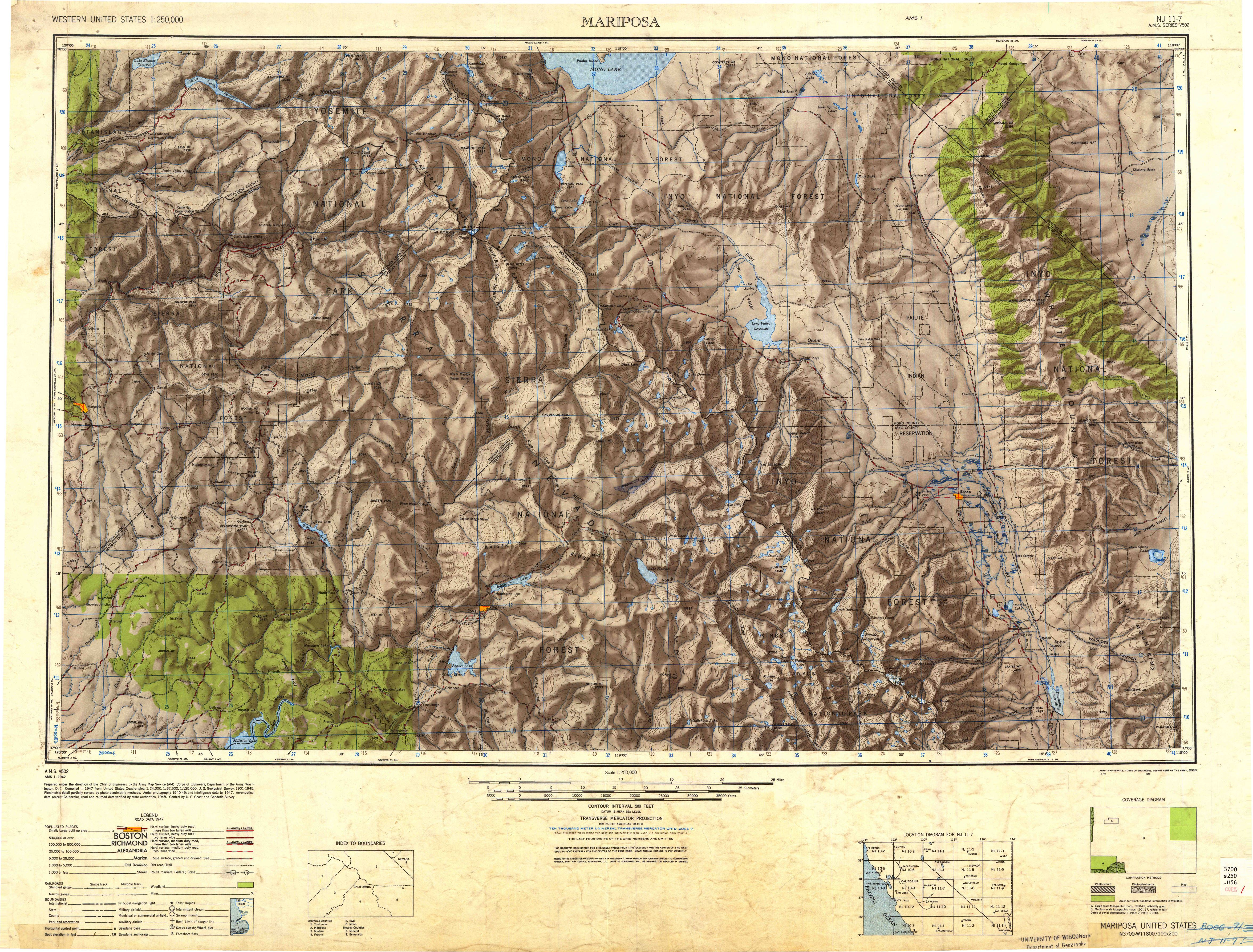 Mariposa CA—1947 Map from the USGS Historical Topographic Map