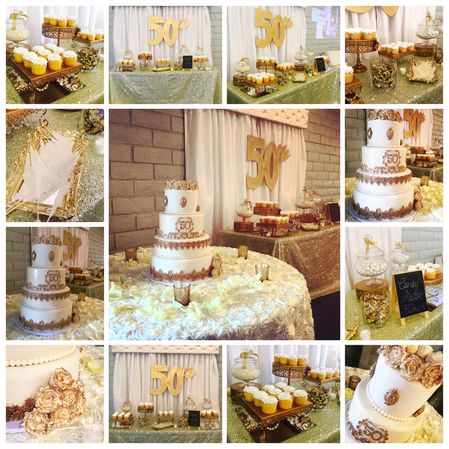 50th Wedding Anniversary Candy Buffet Candy Table Candy Station Gold Ivory Candy Buffet Tables Candy Station Candy Table