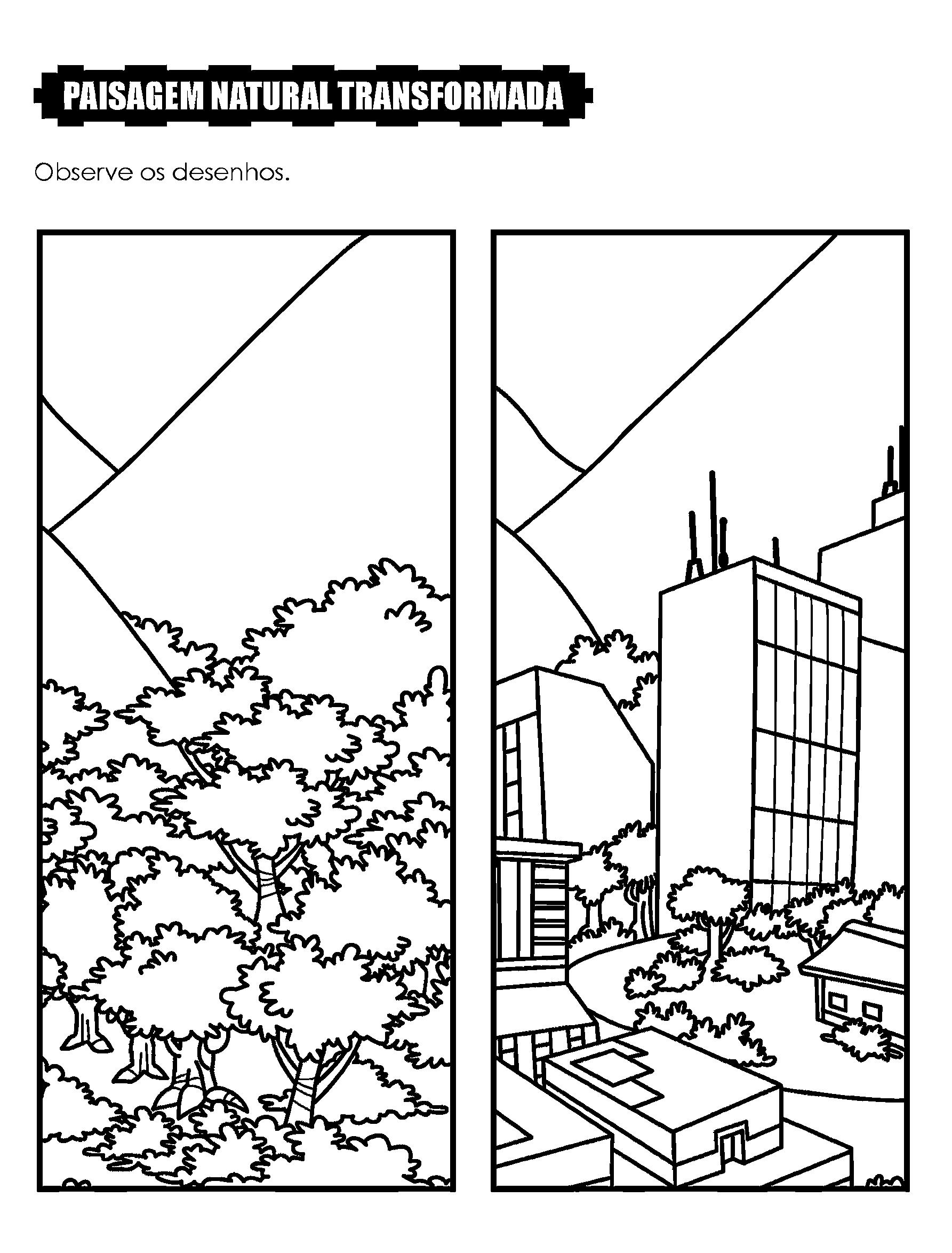 Desenho Paisagem Natural Transformada Avaliacao De Geografia
