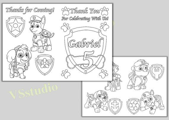 PAW Patrol Birthday Party Thank you coloring pages, activity book ...