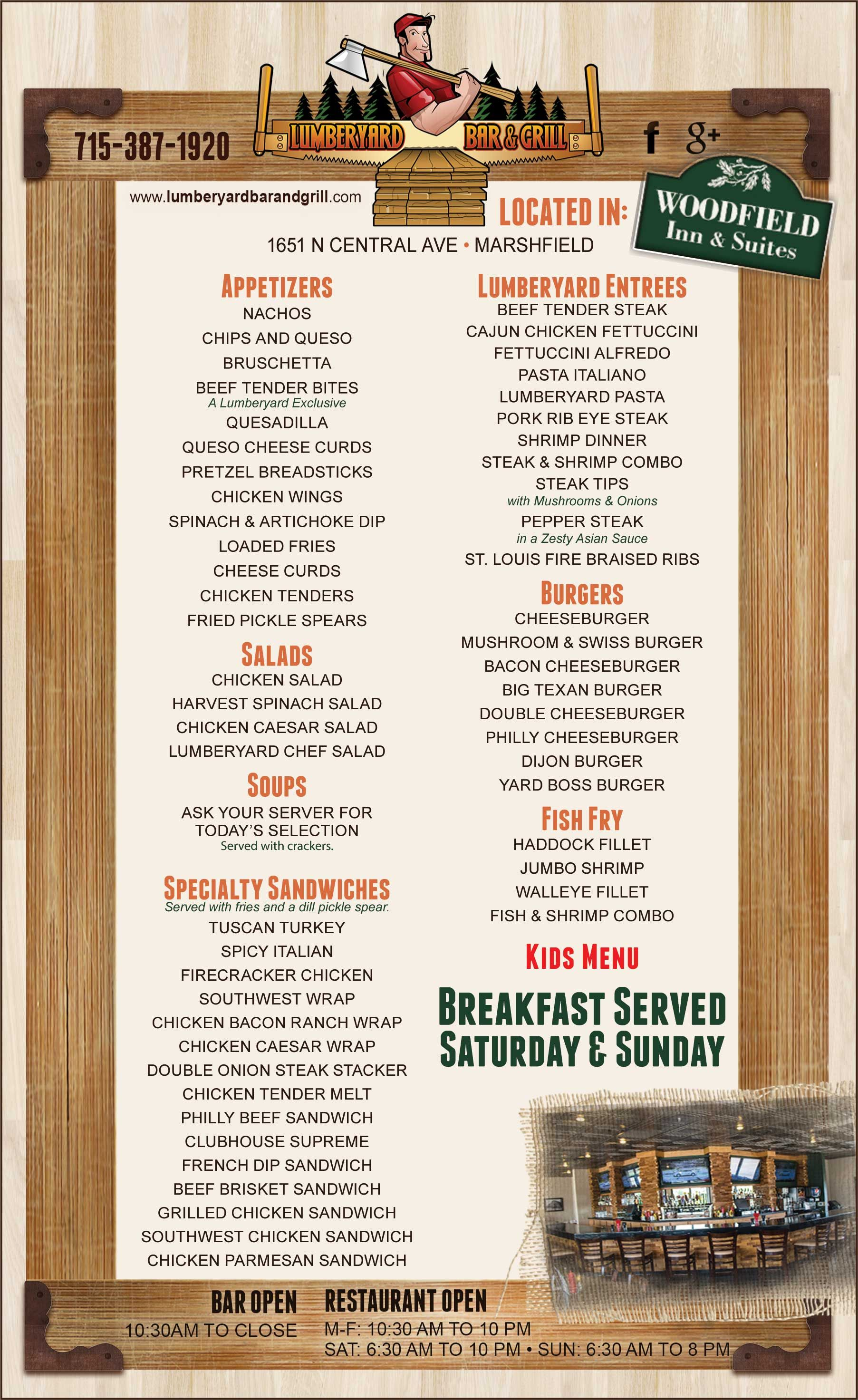 Lumberyard Bar Grill Restaurant Menu Marshfield Wi Grilling