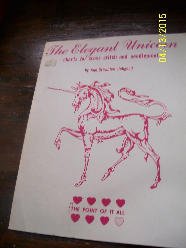 VTG Unicorn pattern chart Leaflet cross stitch needlepoint The Point of it All
