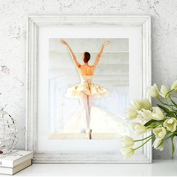 #BallerinaArtPrint #BalletEnPointe  Ballerina Tutu Watercolor Ballerina Art Print Watercolor