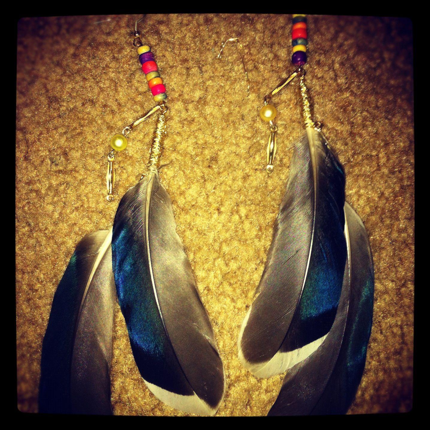 Homemade feather earrings!!