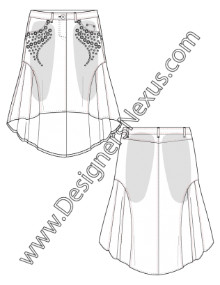 Fashion Flat Sketch V7 High Low Hem A Line Godet Skirt Flat Sketch With Stud Details And Sandblasting Flat Sketches Godet Skirt Fashion Flats