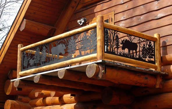 Product Photo Gallery | Log Home W Outdoor Balcony Railing (CS 280) |