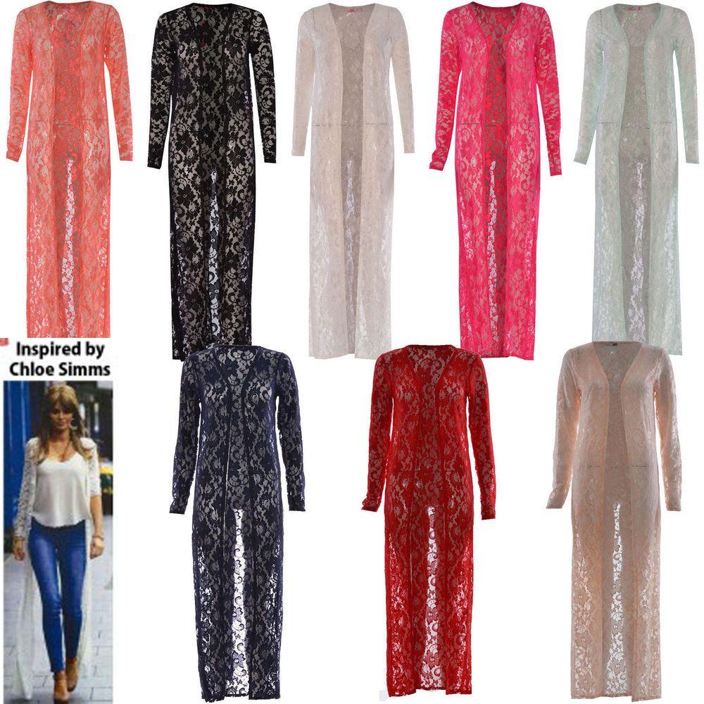 Women Ladies Cardi Long Length Lace Crochet Floral Open Boyfriend ...