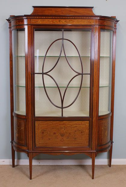 09723r1 Antique Display Cabinet, Edwardian Glass China Cabinet Inlaid Bowed  End Glass Cambridge London - - Antique Display Cabinets Antique Furniture