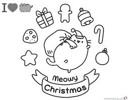 Pusheen Coloring Pages Christmas Amazing Design