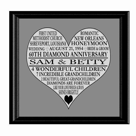 Diamond Wedding Anniversary Gifts For Grandparents: 60th Anniversary Print