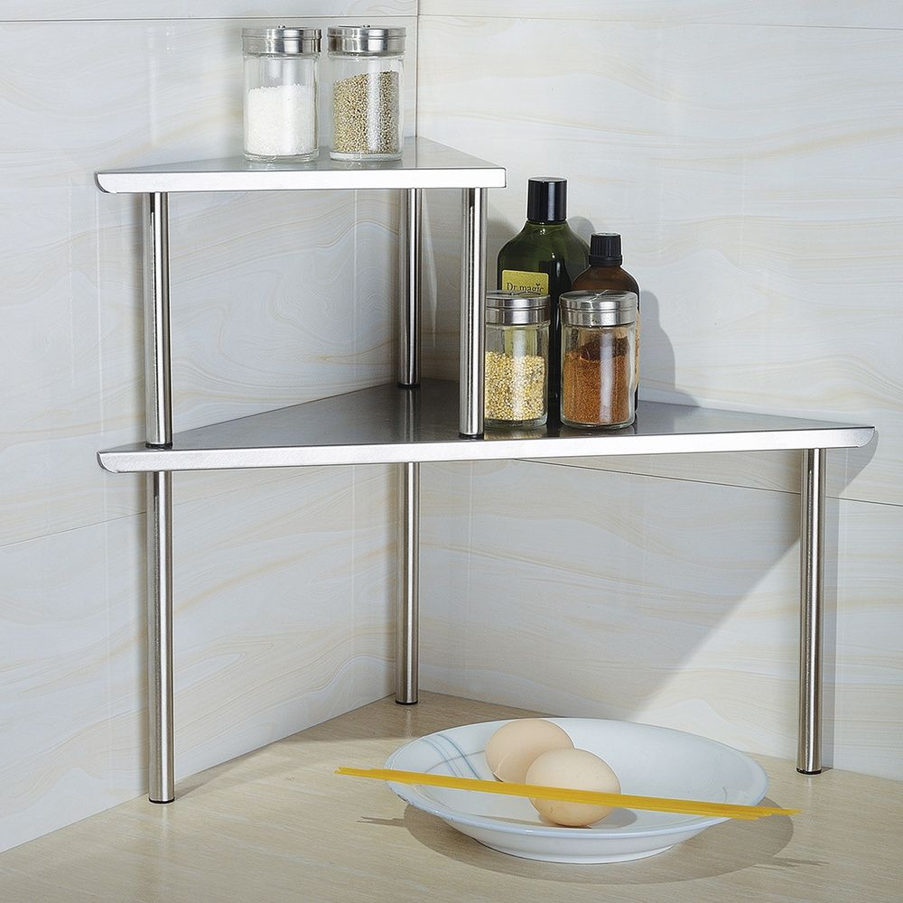 Cook N Home 2 Tier Stainless Steel Corner Storage Shelf Organizer Triangle Corner Storage Shelves Corner Storage Shelves