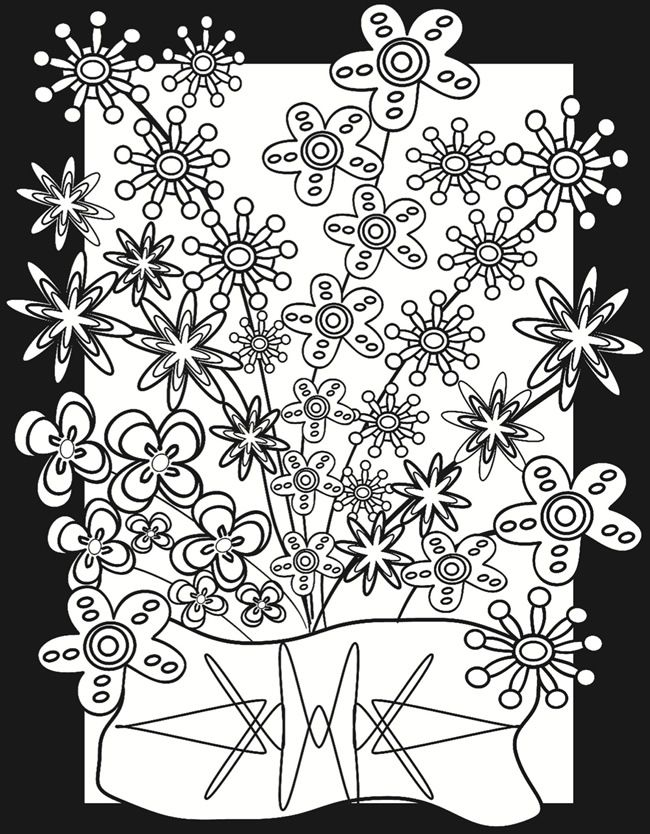 Flower Power Coloring Page Print This On Vellum Then Color With Markers To Make Stained Glass