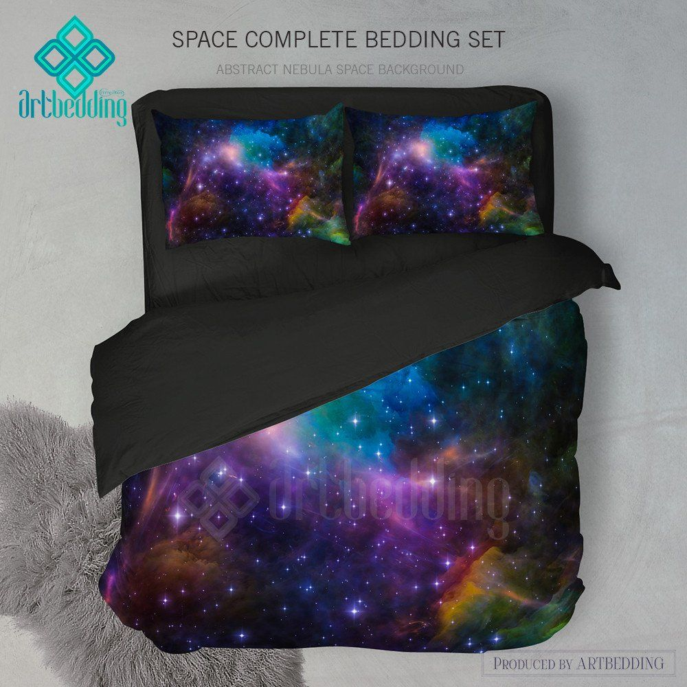 Bettwäsche Galaxie Galaxy Bedding Set Cosmos Duvet Cover Set Abstract Nebula In