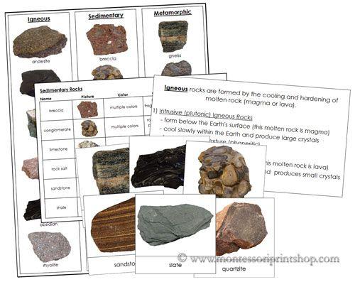 Rocks: Igneous, Sedimentary, Metamorphic (printable Montessori materials)
