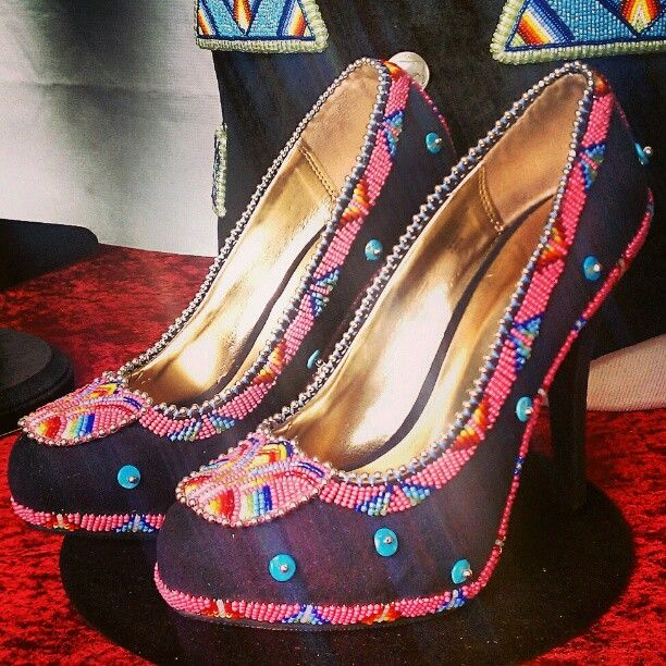 Beaded shoes by JT Willie! #beadwork #shoes #heels #nativefashion