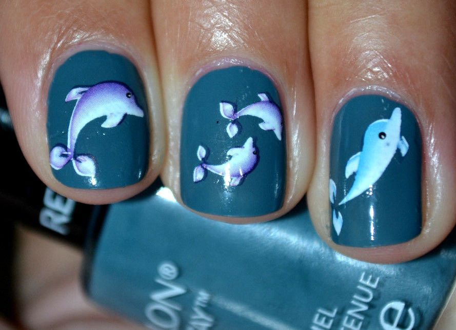 Blue Purple Dolphin Fish Nail Art Water Slide Sticker Decals 193 - Blue Purple Dolphin Fish Nail Art Water Slide Sticker Decals 193