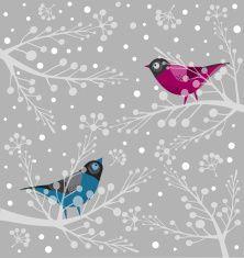 Birds  On Branch vector art illustration