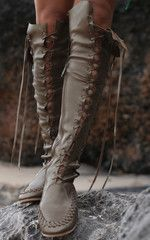 Olive Metallic Leather Knee High Boots