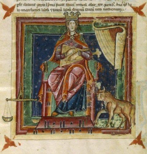 """Venere in domicilio nei Segni Toro e Bilancia. Miniatura dal """"Liber Astrologiae"""" di Georgius Zothorus Zaparus Fendulus, XIII sec."""