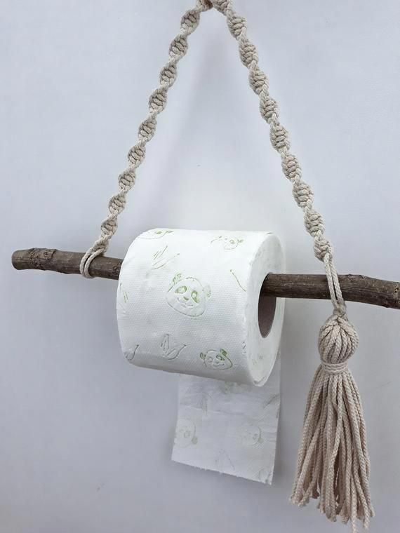 Photo of Macrame roll holder Paper towel holder Rope toilet paper / double TP hanger Bohemian home decor Boho bathroom accessories Rustic wall decor