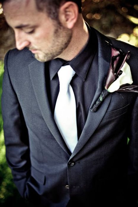 Suit black shirt and white tie instead of tux for Black suit with black shirt and tie