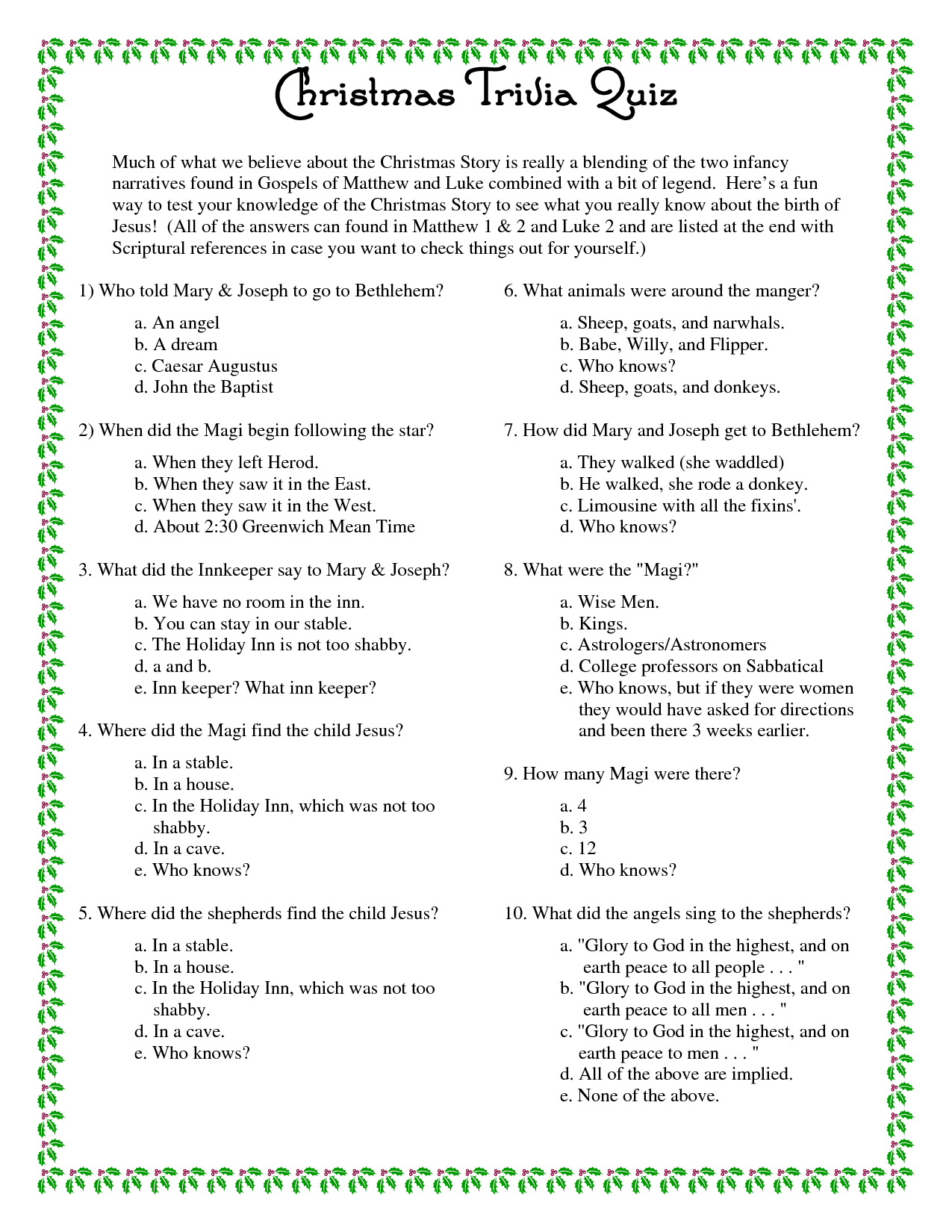 picture about Animal Trivia Questions and Answers Printable named Printable+Xmas+Trivia+Issues+and+Alternatives Xmas
