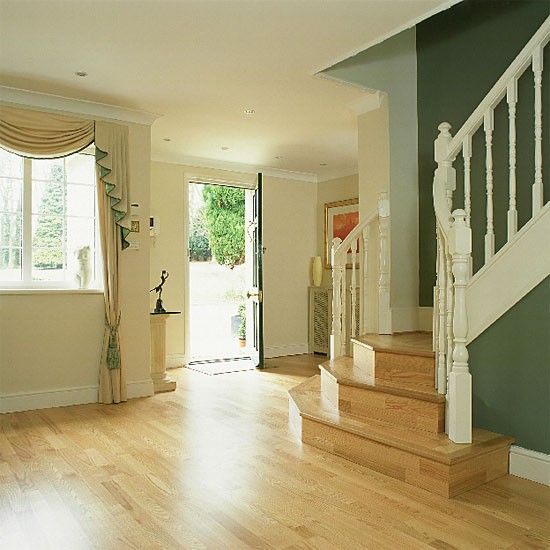Wooden stairs and flooring with painted bannisters   For ...
