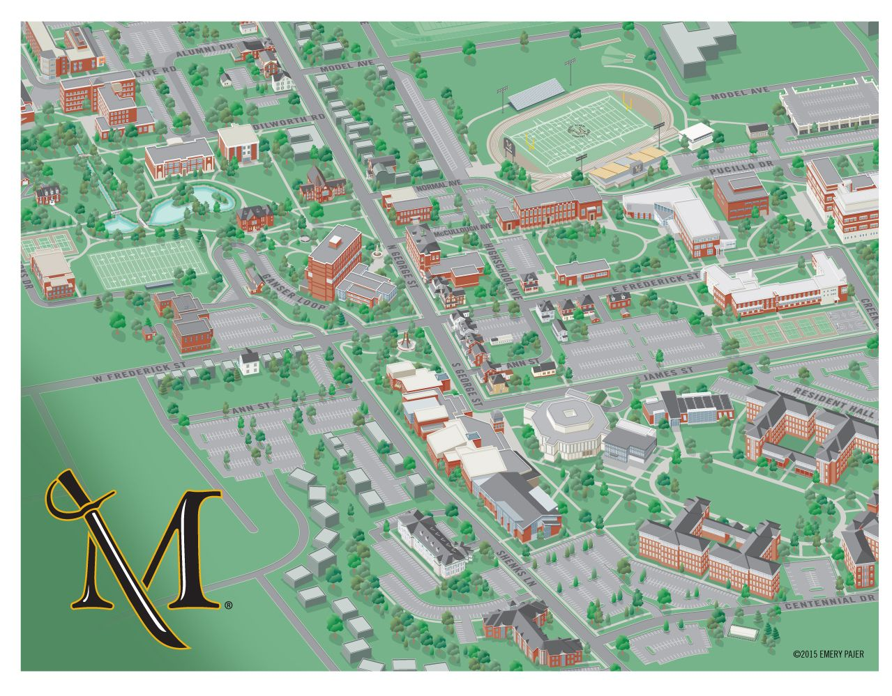 Millersville University Map college campus map illustration Millersville University | 3D