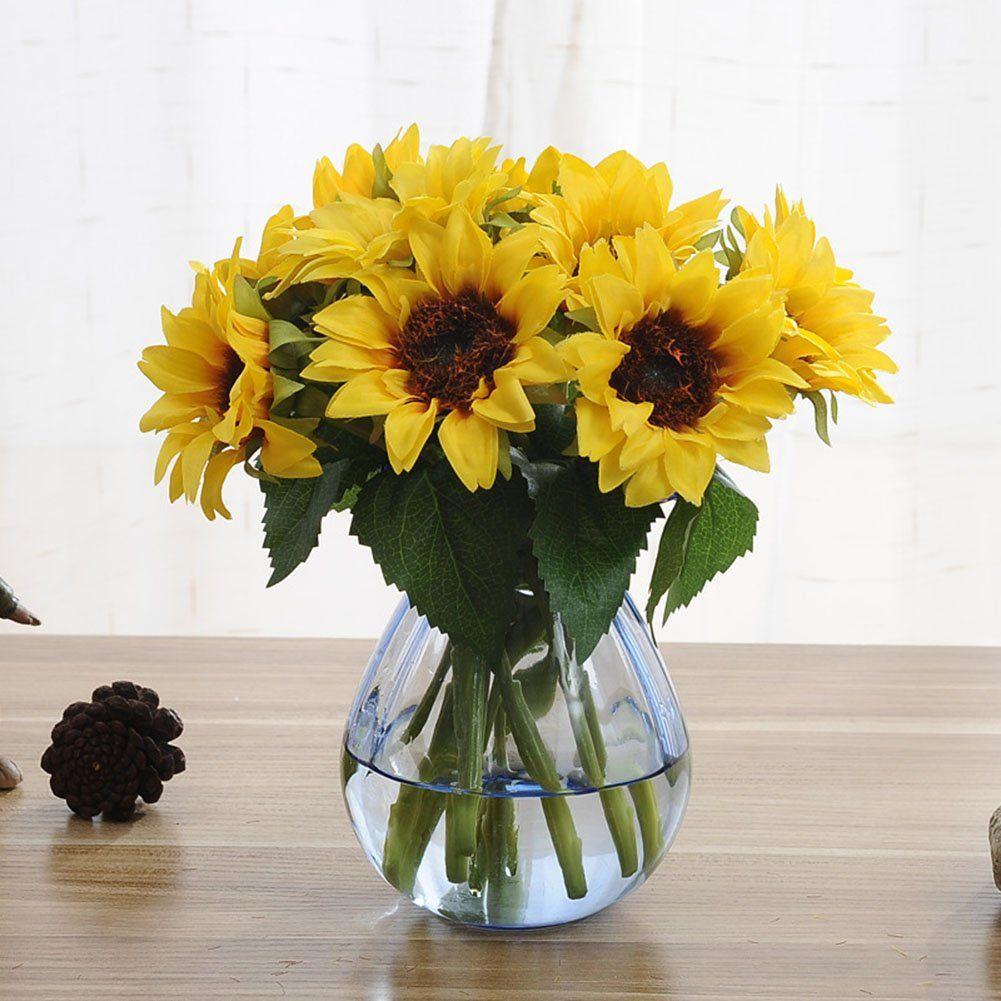 Artfen Artificial Sunflowers 6 Pcs Fake Sunflowers Preserved Flower Bouquet Bride Bridesmai Artificial Flowers How To Preserve Flowers Cheap Artificial Flowers