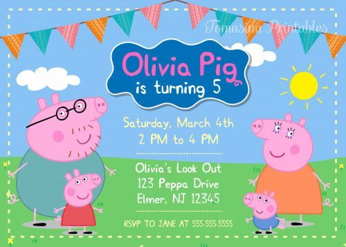 Peppa Pig Birthday Party Invite Party Planning In 2019 Pig