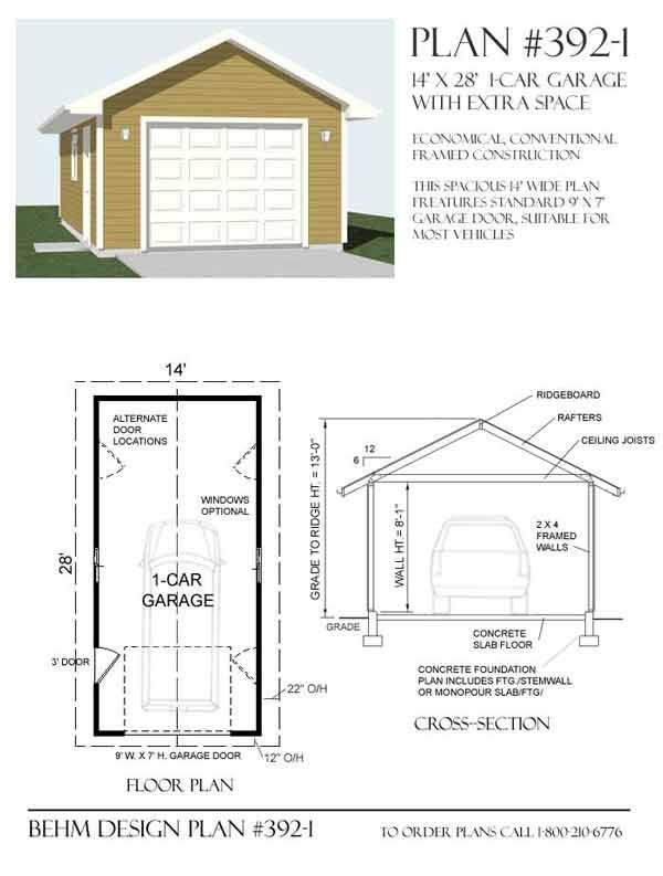1 Car Garage Plans 392 1 By Behm Design Garage Plans
