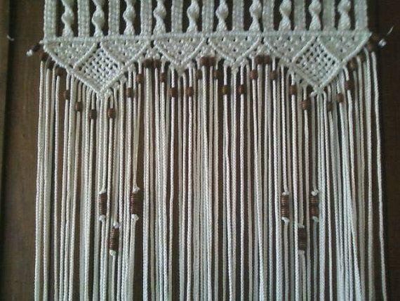 Bead Fringed Door Curtain Macrame For A Door With Tie