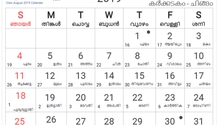 august 2019 malayalam calendar