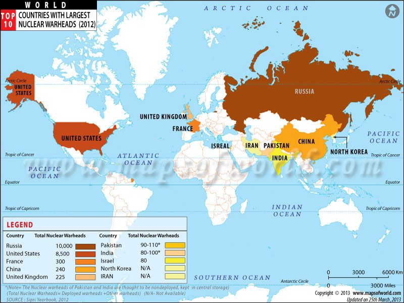 Nuclear weapons total inventory 2012 russia 10 000 usa 8 500 world map top ten countries with largest nuclear weapons gumiabroncs Gallery
