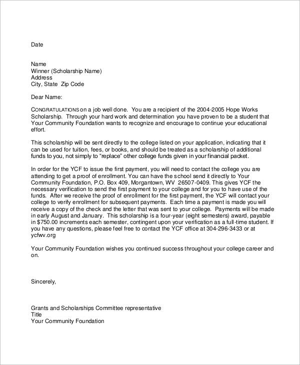 Cover Letter Sample For Scholarship Application Regarding Scholarship Award Letter Templat In Resep Kuini